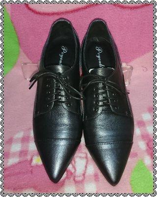 ☆甜甜妞妞小舖 ☆ 品牌  poyouli  黑色牛皮交叉綁帶--中跟尖頭包鞋--38號