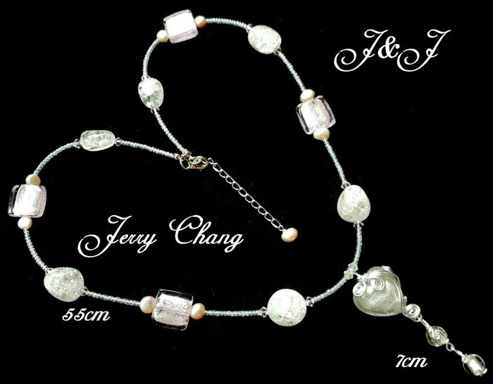 J&J精品~心有靈犀~銀箔琉璃天然珍珠鋁線藝術設計墬鍊