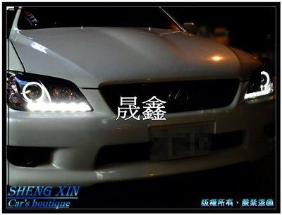 《晟鑫》全新 凌志 LEXUS AXTEZA 黑底 光圈 IS300 IS200 大燈 魚眼投射 LED燈眉 頭燈組
