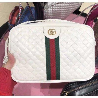 Gucci 古馳 541051 Quilted leather 小香小菱格紋 白色 小款方型包 相機包 BV