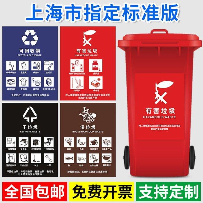 聚吉小屋 #垃圾分類標識上海市垃圾分類投放指南濕垃圾干垃圾標簽生活垃圾管理條例有害垃圾可回收垃圾環保宣傳海報定制