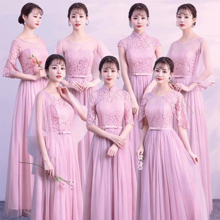 伴娘服長款新款韓版姐妹團禮服裙女灰色中式閨蜜裝婚禮晚禮服