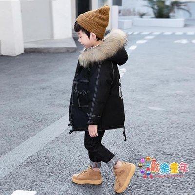 男童棉襖新款兒童中長款棉服中大童毛領棉衣男孩加厚外套洋氣
