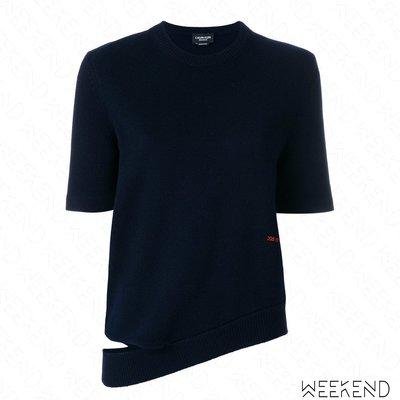 【WEEKEND】 CALVIN KLEIN 205W39NYC 切割 斜擺 針織 短袖 上衣 深藍色