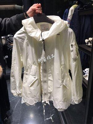 ~阿醬精品專賣~巴黎直送。moncler 新款 白色縮腰修身蕾絲連帽外套。0號。現貨在台