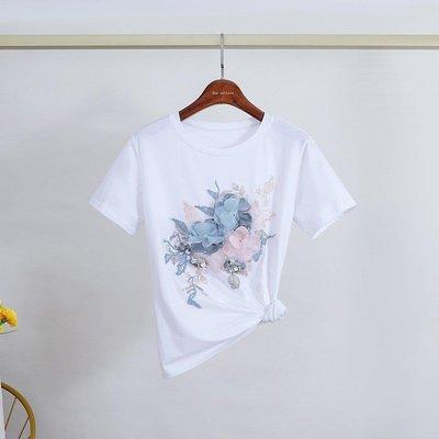 『LOCO』 潮新款百搭立體花朵短袖T恤純色繡花優雅休閒女上衣潮CO686