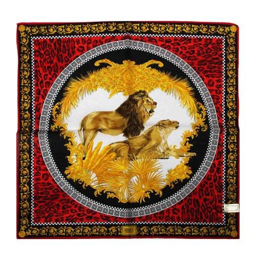 【姊只賣真貨】VERSACE 凡賽斯 古典藝術華麗獅子帕巾(紅色)