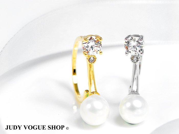 戒指 韓國 迷戀傾城珍珠鋯石戒指 時尚個性 JUDY VOGUE SHOP【JRI-0005】
