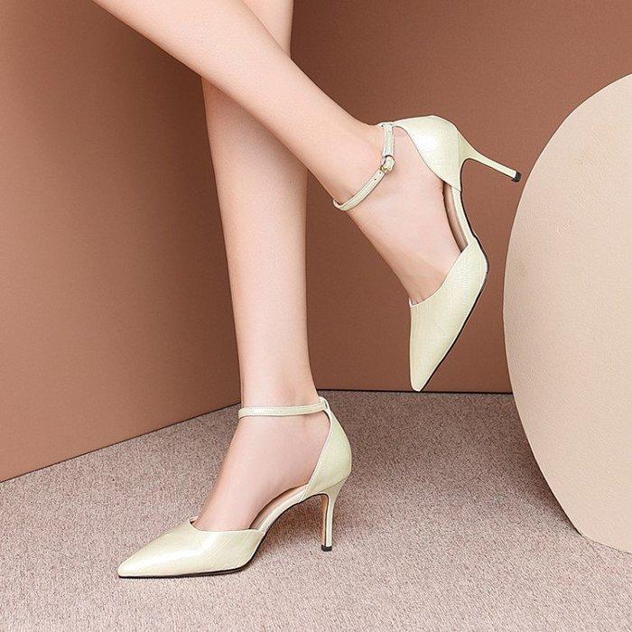 真皮 尖頭淺口一字扣帶女鞋2020春夏新款細高跟鞋真皮中空單鞋時尚涼鞋 HKA 059