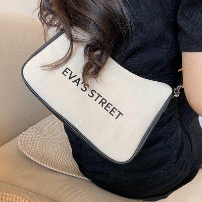 奇奇韓國正品EVASS女包2020新款帆布斜跨包單肩腋下休閑字母布包