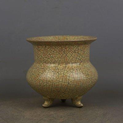 ㊣姥姥的寶藏㊣ 宋代哥窯手工瓷金絲鐵線三足香爐  出土古瓷器古玩古董收藏品