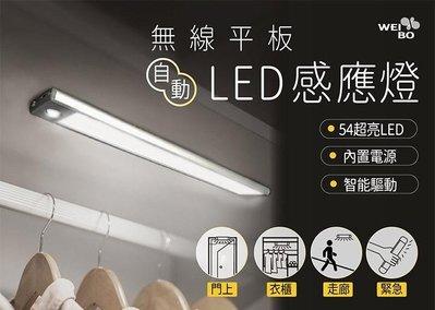 --庫米-- 無線平板磁吸式LED感應燈 32CM 54顆LED超亮 USB充電內置電芯