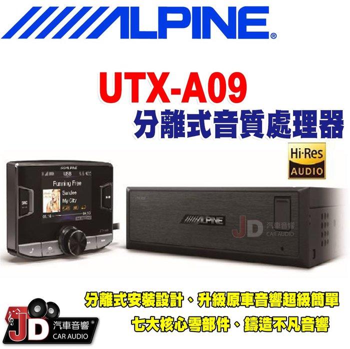 【JD汽車音響】ALPINE UTX-A09 分離式Hi-Res高音質媒體播放器 USB/iPod/iPhone 竹記貨