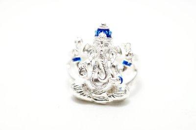 「還願佛牌」泰國 佛牌 阿贊 力礦 純銀  象神 小立尊 戒指 提升智慧 成願 招財 增加人緣