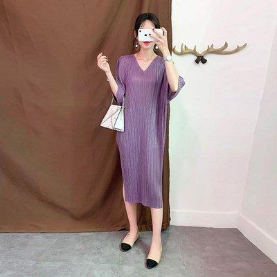 蝙蝠袖洋 裝 連身 長裙-V領條紋壓褶開叉女裙子4色73yf9[獨家進口][米蘭精品]