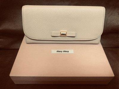 MIU MIU近全新真品芭比粉裸色真皮皮夾