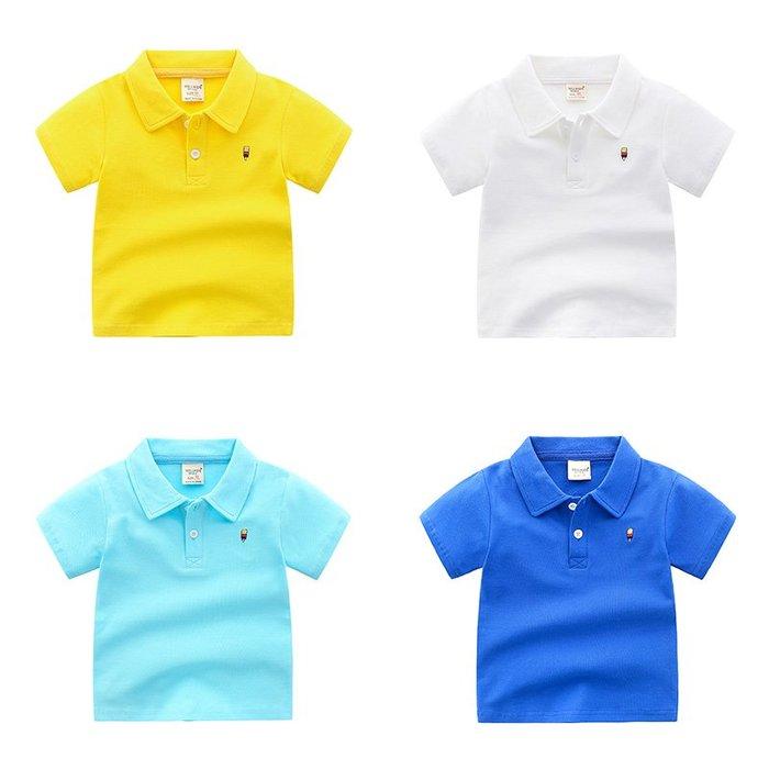 [C.M.平價精品館]90~130/小紳士舒適有型藍/白/黃色短袖POLO衫  小童/中童