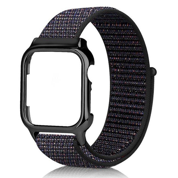 錶帶 手錶配件 適用applewatch智能手表尼龍pc帶框一體腕帶蘋果手表表帶iwatch新款4代40/44mm專用替換帶手錶 木子潮衣閣