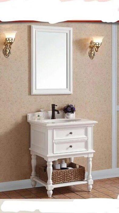 FUO衛浴:60公分鄉村風大理石台面浴櫃組   白色 HB001WHT現貨
