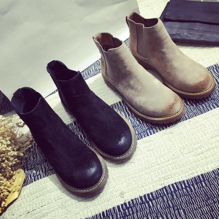 【每日一特價】切爾西靴秋冬馬丁靴女切爾西短靴復古英倫風女鞋真皮圓頭裸靴平底粗跟靴子歐美