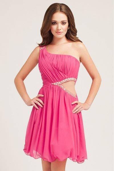 現貨UK8  Little Mistress 粉紅色單肩斜肩腰間挖空珠繡法式洋裝派對禮服 原價約三千