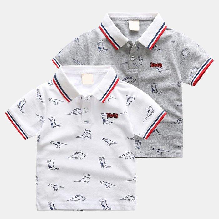 [C.M.平價精品館]90~130/帥氣小紳士舒適好穿恐龍滿印灰色/白色短袖POLO衫   小童/中童