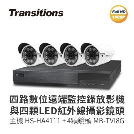 【皓翔行車監控館】全視線 4路監視監控錄影主機(HS-HA4111)+LED紅外線攝影機(MB-TVI8G) 台灣製造