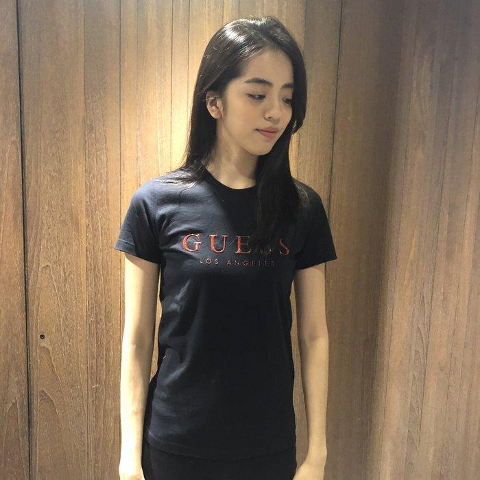 美國百分百【全新真品】Guess T恤 T-shirt 短袖 短T U領 浮雕logo 女 黑色 J342