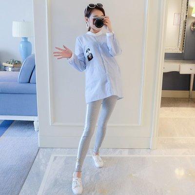 孕婦襯衫春裝2018新款韓版時尚短款長袖上衣寬松刺繡小貓大碼襯衣