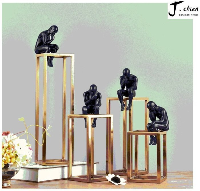 J.chien ~[全館免運]現代簡約擺件家居裝飾品 簡約風 工藝品 客廳餐廳臥室工藝品 辦公室裝飾品 思想者造型