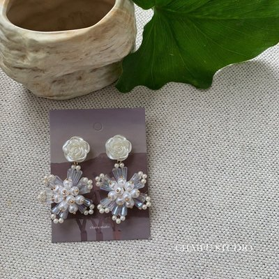 Cool酷兒飾品~阿柴夫#R208 INS韓國超仙優雅高級氣質珍珠珠子花形流蘇耳釘耳環