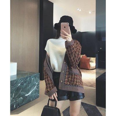 cute girl【璀家cuijia】粗紗羊毛混紡 立體編織提花 廓形外套 H15679