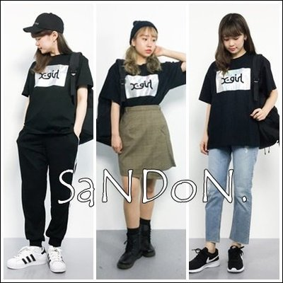 SaNDoN x『X-GIRL』 SHINY LOGO S/S BIG 雷射設計短TEE sly 180412