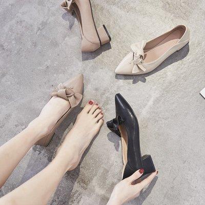 柒柒KR 正韓蝴蝶結奶奶鞋中跟尖頭鞋子2019新款春季淺口單鞋女粗跟