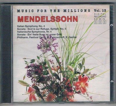 古典CD-MENDELSSOHN/MUSIC FOR THE MILLIONS VOL.13(74481)/全新