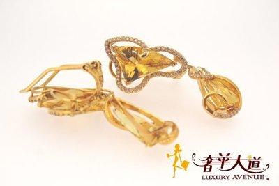 *奢華大道國際精品*【J0452】天然金黃綠柱石耳環