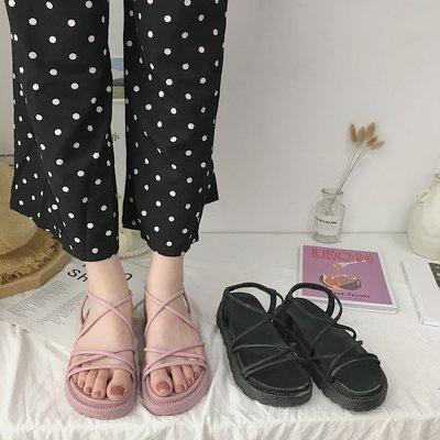 創意 氣質涼鞋女學生韓版簡約百搭新款增高仙女粉色原宿軟底厚底松糕鞋