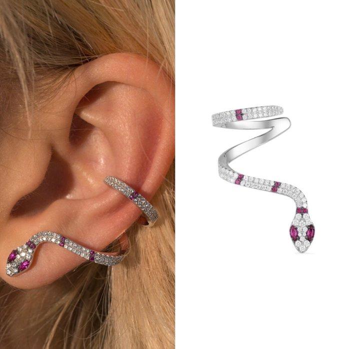 💎1416、(預購)埃及系列 高貴靈蛇微鑲特殊攀耳式耳環(單邊戴右耳)💎正韓飾品 耳環 珠寶 925純銀針 EF092