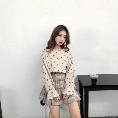 Color Fashion秋季韓版百搭點點襯衫燈籠袖打底長袖上衣 G825147正韓女裝女衣T恤