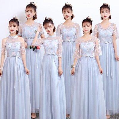 ZIHOPE 伴娘禮服 伴娘禮服女韓版姐妹團伴娘服長款灰色顯瘦一字肩連身裙秋ZI812