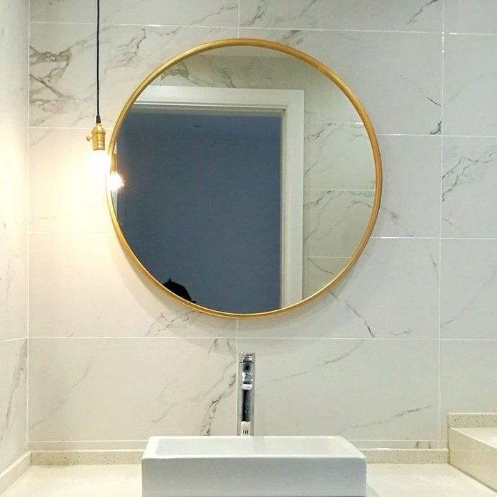 ABOUT。R 歐式黑白金色圓鏡吊鏡壁掛鏡浴室鏡化妝鏡時尚裝飾圓鏡美式餐廳掛鏡圓形立鏡裝飾擺件商空時尚裝飾鏡(3色可選)