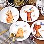 TROMSO芬蘭動物插畫陶瓷盤四入一組 兒童陶瓷...