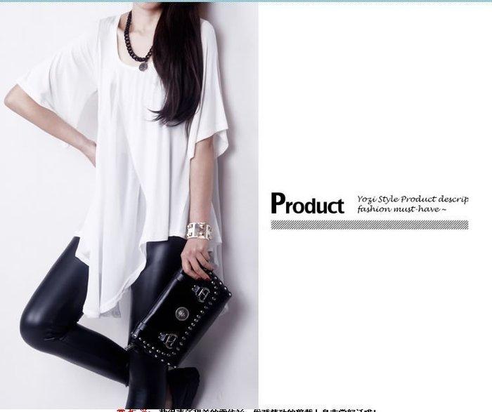 ☆Candy Box☆女裝新款歐美寬鬆莫代你棉拼接圓領雪纺衫女短袖潮 白 Y2311959