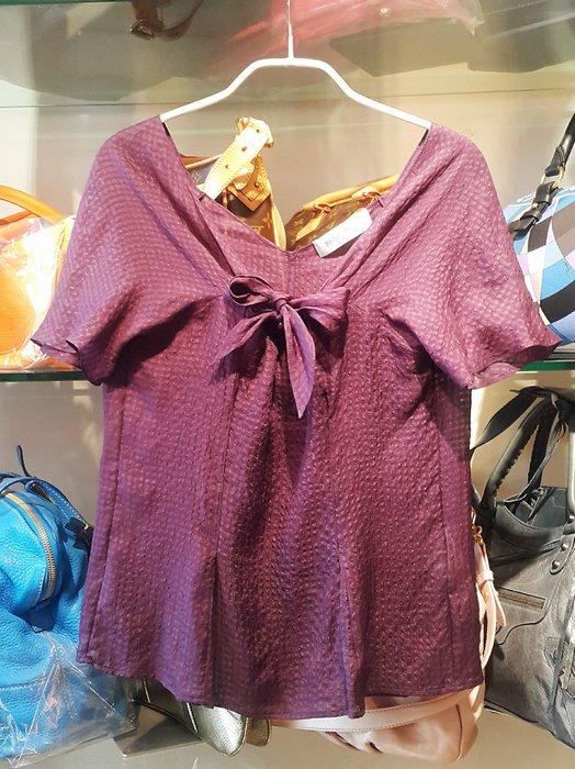 *旺角名店* ㊣ YSL 正品 真品 Saint Laurent 深紫 純絲 細格紋透光感 輕薄細緻感上衣