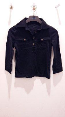 日本MK.Michel klein 全新女款 有領7分袖上衣-黑-38-100%棉.顯瘦