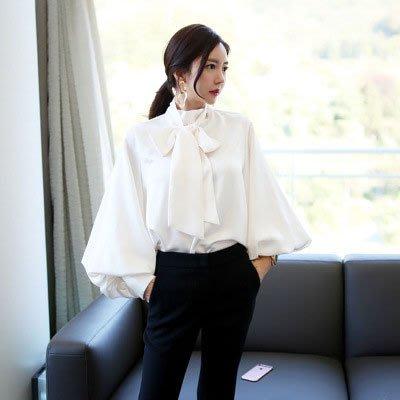 上衣   韓系 時尚蝴蝶結系帶燈籠袖寬鬆純色襯衫*台北薇安*【W126448】
