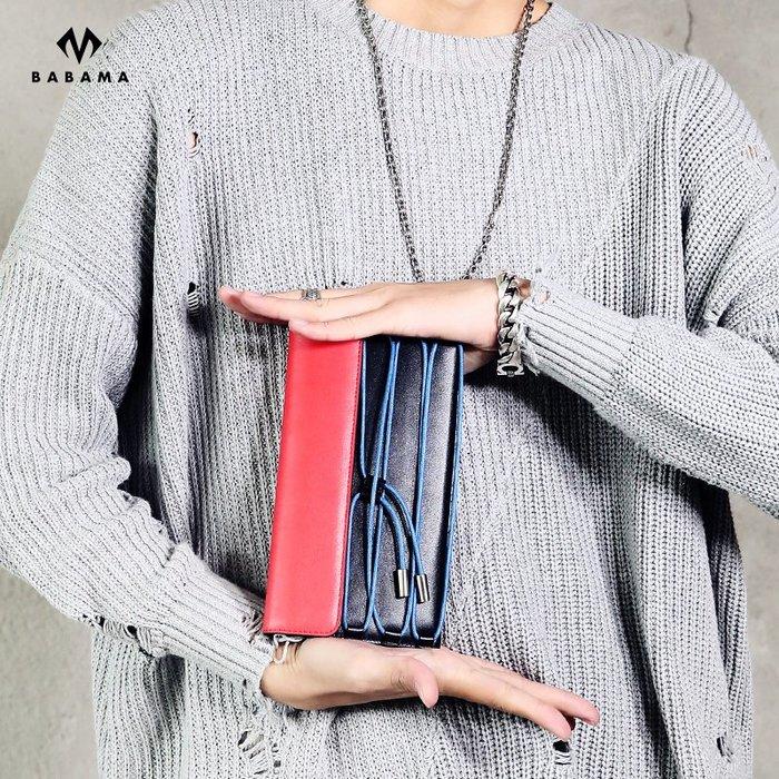 babama2018新款時尚潮流長款錢包綁帶手拿包潮牌休閑手包男女包小51