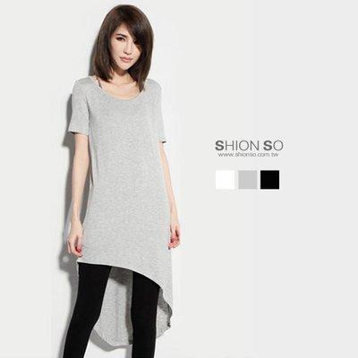 享瘦衣身中大尺碼【B1563】不規則斜裁造型圓領長版上衣