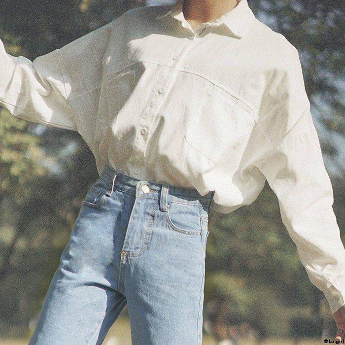 ✿Lu girl 春秋INS慵懶風寬松純色棉襯衫復古長袖港風CHIC設計感上衣女心機JU19