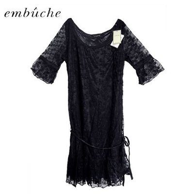 【日貨】日本 embuche 甜美黑色綁帶蕾絲洋裝 【↘1折出清】